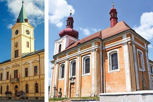 Radniční a kostelní věž.