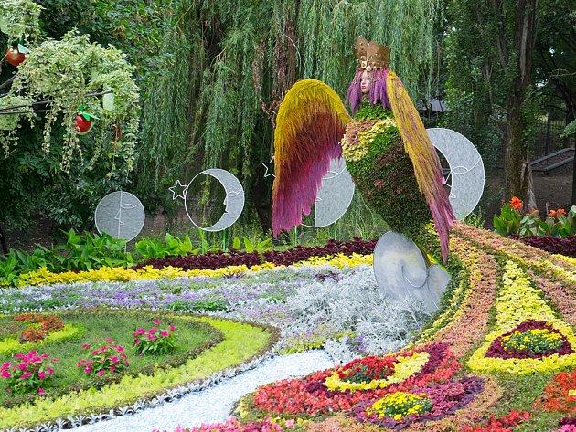 Příklad kreativní květinové expozice vKyjevě