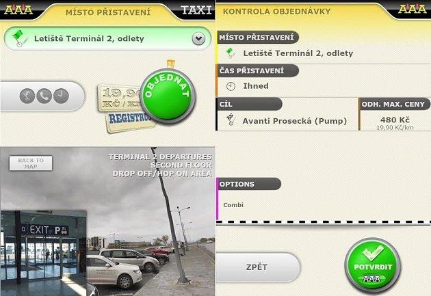 Mobilní aplikace – objednávka jízdy zletiště svizuální navigací místa přistavení vozu