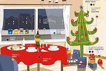 Třídění nejen během vánoc Vám zjednoduší naše grafiky. Barevné puntíky u jednotlivých předmětů Vám napoví, co do jakého kontejneru vytřídit. Takže žlutý puntík znamená kontejner na plasty, modrý papír, atd.