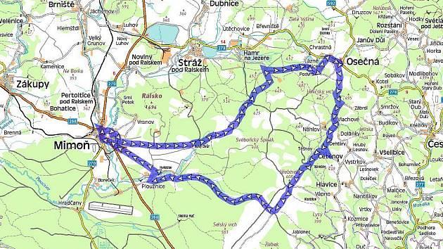 Cykloturistická trasa Máchovým krajem.