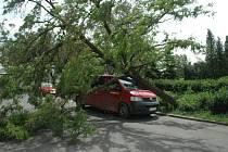 Zásah hasičů ve Spořicích. Vítr porazil strom, který spadl na auto.
