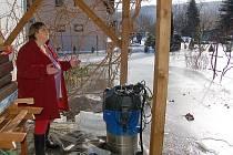 POD LEDEM. Zahradu paní Eisenreichové přikryl led a  do sklepa crčí voda, která z půdy prosakuje do domu.