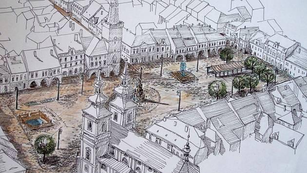 Podklady k řešení kadaňského náměstí – varianta Komrska – Pachner.