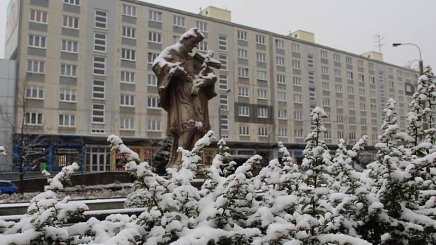 První sníh v Chomutově a Jirkově.
