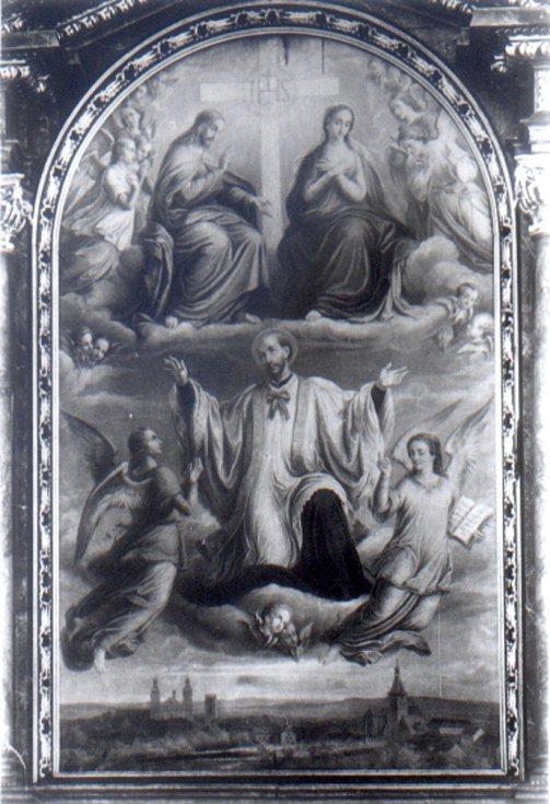 Oltářní obraz na historické fotografii.