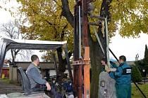 Nový křížek usazují na jeho místo na hřbitově pracovníci technických služeb.