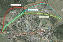 Tři varianty obchvatu Klášterce nad Ohří.