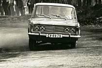 Zdeněk Říha starší při Rallye Jičín v roce 1973 se spolujezdcem Pražákem.