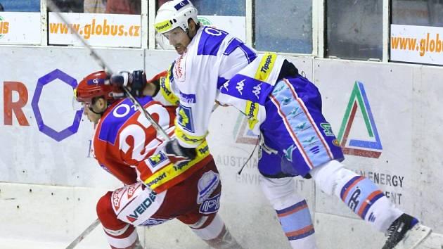 Snímek z utkání hokejistů KLH se Slavií.