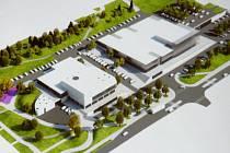 Vizualizace, na které je vidět plánované rozpůlení KASSu. Vlevo je městská a vpravo soukromá část komplexu.