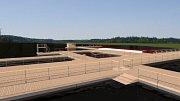 Vizualizace ukazuje, jak by mělo vypadat kompletní nové molo na Kamencovém jezeře. Stavět se ale bude po částech