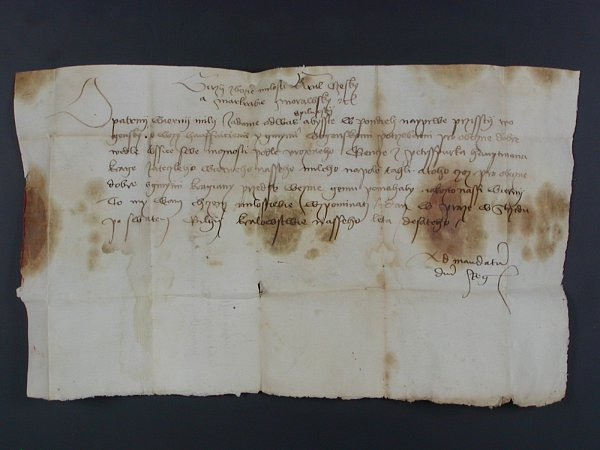 Král Jiří ve svém psaní vyzývá Kadaňany, aby dle svých možností přispěchali na pomoc vboji.