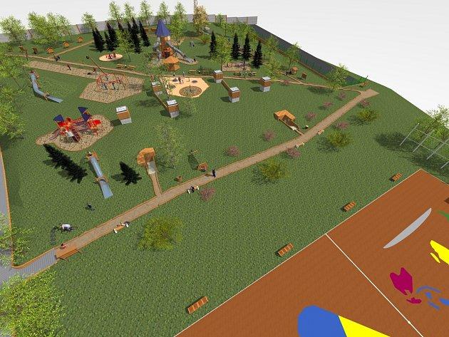Náhled projektu chytrého hřiště, které by mělo stát v Kadani mezi Polní a Ječnou ulicí.
