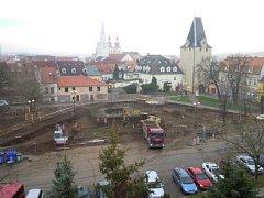 Budoucí Studentské náměstí, kde v těchto dnech pracují archeologové.