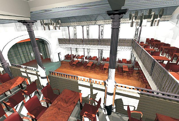 Vizualizace hlavního sálu budoucího kulturního domu v Jirkově.
