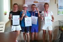 Zprava vítězka Tereza Krejčová, druhý Pavel Kozák, třetí Denis Braun a čtvrtá Melánie Ashenbrennerová.