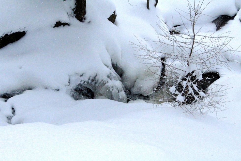 Zasněžené Helenčiny vodopády lákaly k zimní procházce.