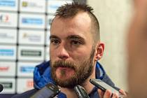 Marek Čiliak při pozápasovém rozhovoru.