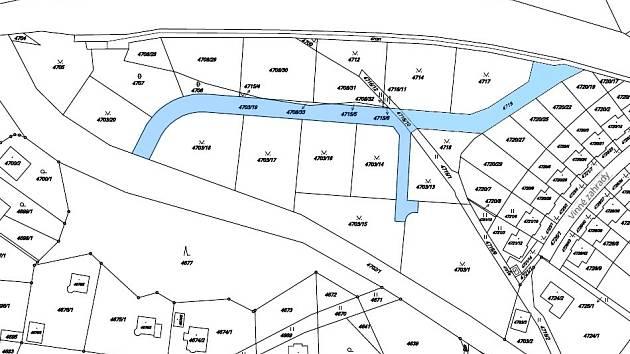 Nová ulice se bude rozkládat v modrém prostoru na mapě.