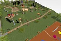 Vizualizace ukazuje, jak mělo vypadat chytré hřiště v Kadani původě. Při realizaci ho ale čekají podstatné změny
