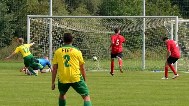 Rozhodující moment utkání. V 92. minutě pronikl do velkého vápna čerstvě vystřídaný útočník Podbořan Lukáš Fořt s číslem 12 a vstřelil vítězný gól hostů.