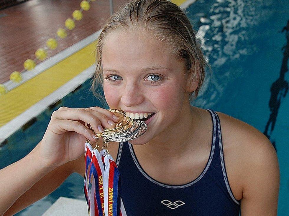Simona Baumrtová a její trofeje.