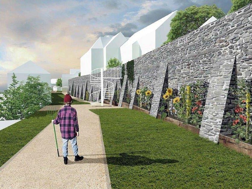 Schůdky vedou do Děkanské zahrady, dole je komunitní zahrada, kde si místní mohou opečovávat vlastní zeleninu.