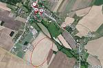 Letecký záběr s vyznačením místa, kde má vyrůst průmyslový areál.