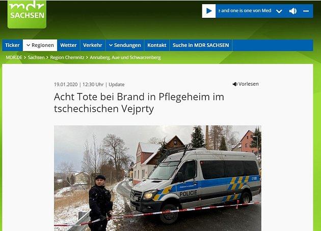 Tragédii ve Vejprtech se věnují izahraniční média.