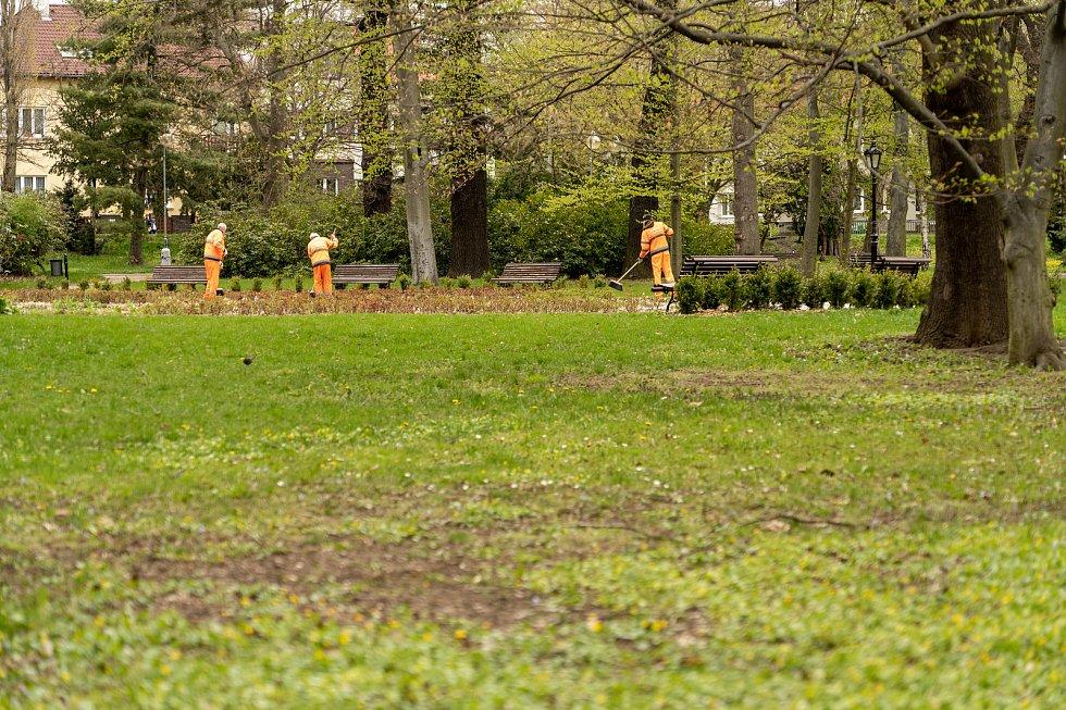 Úklid v Městském parku v Chomutově.
