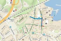 Mapka ulic, kde proběhnou rekonstrukce.