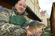 Rybí trh za chomutovskou radnicí bude otevřený až do 24. prosince. Na čím stole skončí kapr v náručí prodejce Štefana Kolenčíka mladšího?