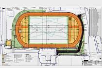 Plánek nového atletického oválu v Klášterci nad Ohří