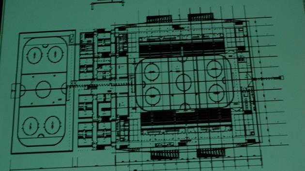 Plány nového zimního stadionu, které představila chomutovská radnice.