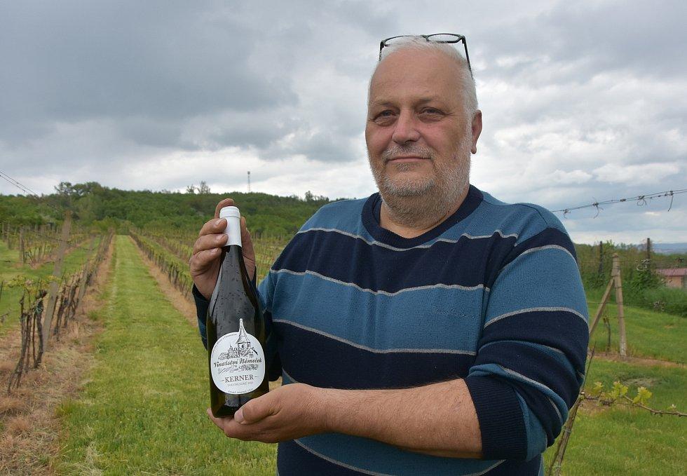 Vinař Karel Němeček ve své vinici nad vesničkami Stranná a Vičice.