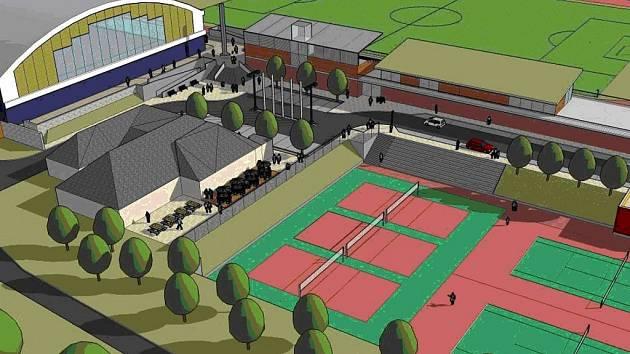 Počítačová vizualizace - celkový pohled na zmodernizovaný sportovní areál v Klášterci nad Ohří.