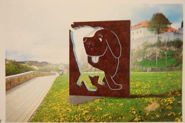Kovový Fík, který vychází zplošné stylizace původní kresby, bude vítat návštěvníky mezi hradem a bývalou restaurací Kotva.