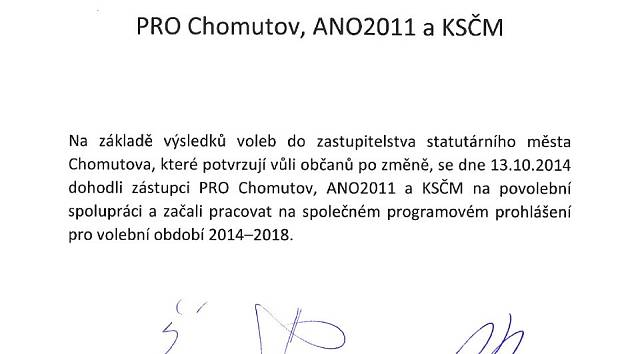 Prohlášení o povolební spolupráci PRO Chomutov, ANO 2011 a KSČM.