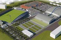 TAK JAK TO BUDE? Vpravo nahoře atletický areál, vedle něho fotbalový stánek. Vpravo zastřešený zimní stadion.