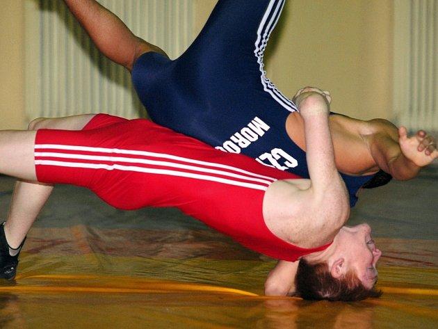 Tréninkové fotografie řecko - římských zápasníků týmu ASK Valzap Chomutov. V červeném Michal Zedník a v modrém Dominik Mórocz.
