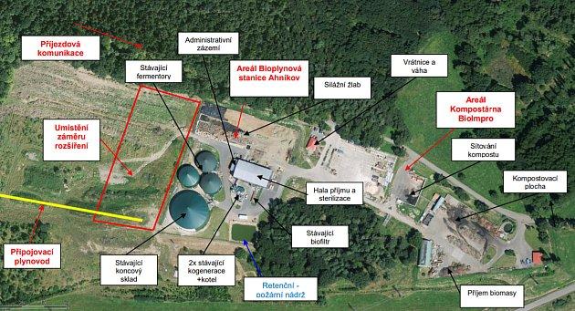 Dotčené území se současnou Bioplynovou stanicí Ahníkov.