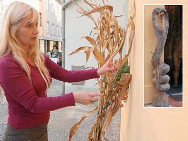 TADY STÁLA. Majitelka obchodu a autorka sochy Lada Hellerová ukazuje díru, co po soše dřevěné kobry (ve výřezu) ve zdi zbyla . Po zlodějích pátrá policie.