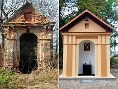 Kaplička v Radonicích před a po opravě