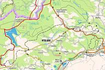 Základní část mapy, trasu na německé straně naleznete v galerii