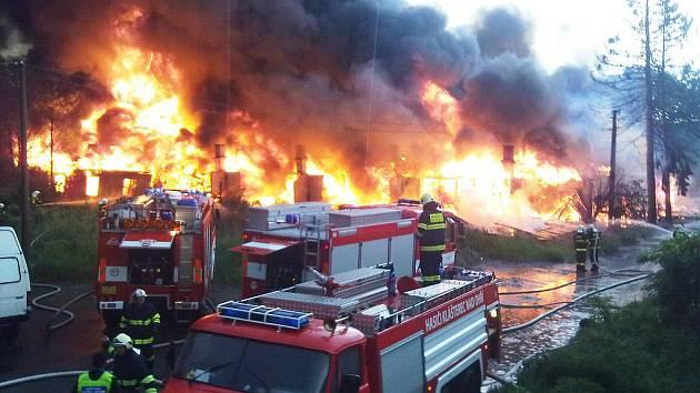 S plameny v areálu bývalé ubytovny bojovalo několik hasičských sborů