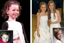 Kateřina (vlevo) a Valerie (na druhém snímku vpravo s další ze soutěžících) při generálce a na svých soutěžních fotografiích (malé snímky).