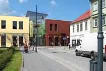Žižkovo náměstí v pohledu z Táboritské ulice.