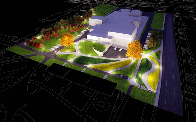 Jedna zdřívějších vizualizací budoucího KASSu, která řešila hlavně revitalizaci okolí.