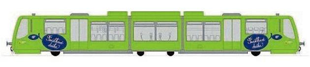 Vizualizace jednotky RegioSprinter pro Švestkovou dráhu. Vozy budou upraveny do zelené barvy.